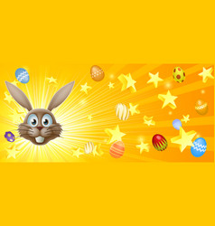 Easter bunny and eggs banner vector