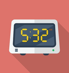 Electronic alarm clock icon Modern Flat style with vector