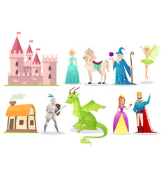 fairytale characters flat set vector image