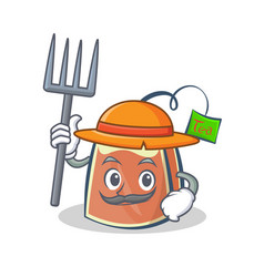 Farmer tea bag character cartoon vector