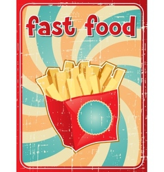 Fast food background with french fries in retro vector