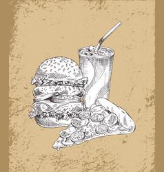 fast food hamburger and drink vector image