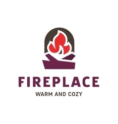 fireplace into flat style trend vector image