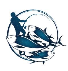 Fisherman catches tuna vector