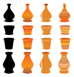flower pots on with background vector image