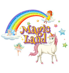 Font design for word magic land with unicorn vector