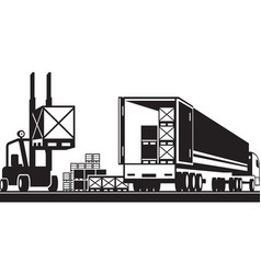 forklift loading pallets in a truck vector image