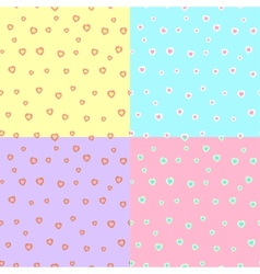 Four patterns with hearts vector image