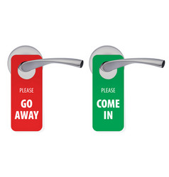 Go away and come in room tags on door handle 3d vector