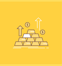 gold coin cash money growth flat line filled icon vector image