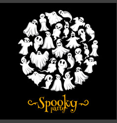 Halloween spooky party ghost poster vector