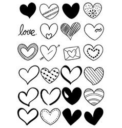 Hand drawn scribble hearts vector