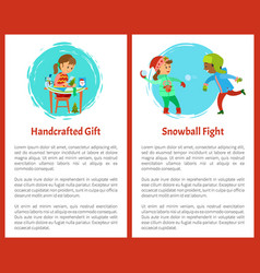 Handcrafted gift and snowballs fight christmas vector
