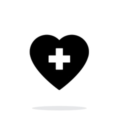 Heart with medical cross icon on white background vector image
