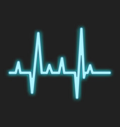 Heartbeat blue neon sign vector