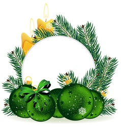 Holiday baubles and pine tree branches vector