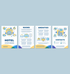 Hotel brochure template layout rooms amenities vector