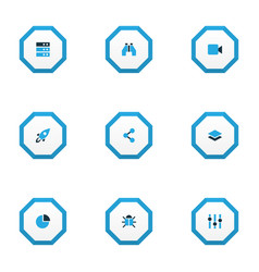 Interface icons colored set with layer server vector