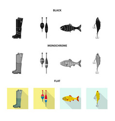 Isolated object of fish and fishing sign set of vector