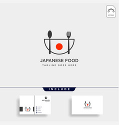 Japanese food fork and spoon simple logo template vector