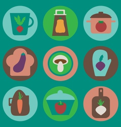 Kitchen icons set vector image