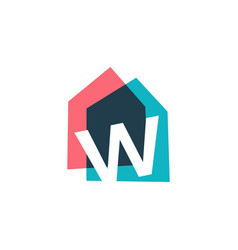 letter w house home overlapping color logo icon vector image