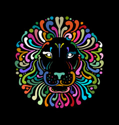 lion face logo colorful sketch for your design vector image