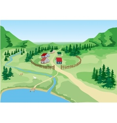 Little the country at the foot of mountains vector