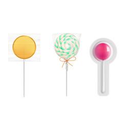 lollipop candies in transparent plastic pack vector image