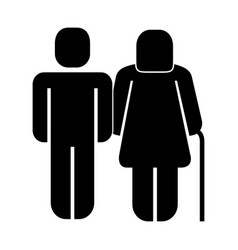 Man with older woman walk stick pictogram vector