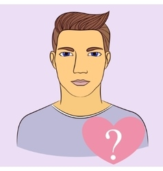 Man with question in heart vector image