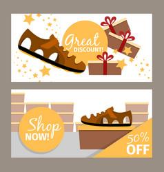 men summer brown shoe store flyer vector image