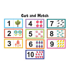 Numbers flash cards for kids cut and match vector