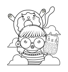 Outline girl with kawaii cat donut and ice lolly vector