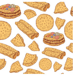 pancakes seamless pattern doodle cartoon ornament vector image