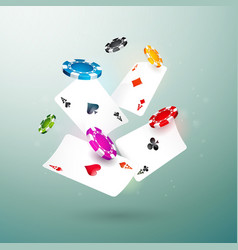 realistic falling casino chips and poker cards vector image