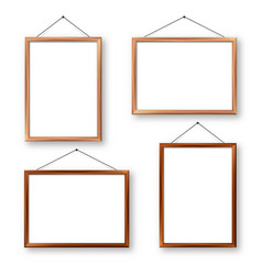 Realistic wooden picture frames with shadow vector