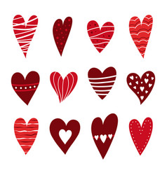 red hearts set vector image