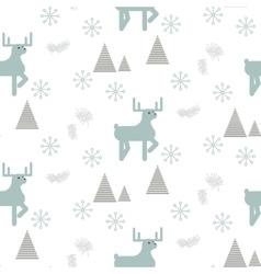 Reindeer in a snowy woods seamless pattern vector