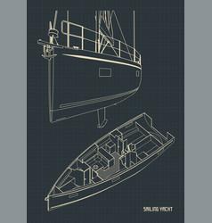 sailing yacht and its interior blueprints vector image