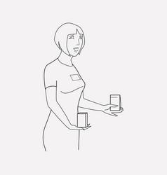 saleswoman icon line element vector image