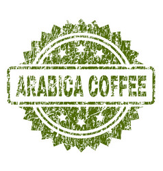 Scratched textured arabica coffee stamp seal vector