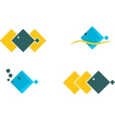 Sea Icons Set Square design fish vector image
