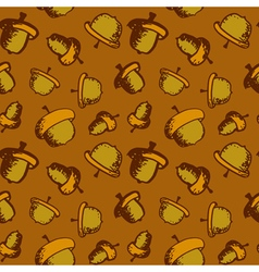Seamless acorn pattern vector image