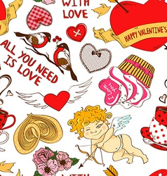 Seamless pattern with funny cartoon love elements vector