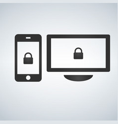 security computer and phone lock icon isolated on vector image