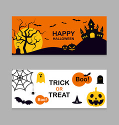 Set halloween banner background flat design vector