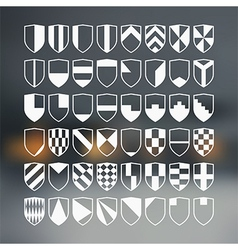 Set of 48 blank of retro shields vector