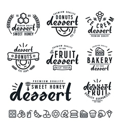 Set of dessert labels badges and icons vector