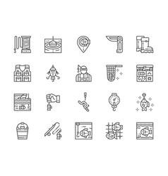 set of fishing line icons jackknife fisherman vector image